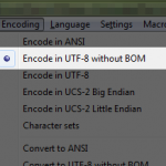 Saving encoded as UTF-8 without BOM in notepad++